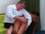 Sexy German floozy gets bent over and spanked
