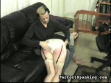 A-cup hotty, spanked and paddled by stud and woman.