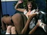 Interracial beating on the leather sofa