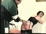 Non-professional OVER THE KNEE arse beating on the bed